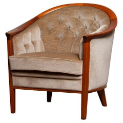 1960s Mahogany and Taupe Velvet Lounge Chair by Broderna Andersson, Sweden