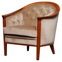 1960s Mahogany and Taupe Velvet Lounge Chair by Broderna Andersson, Sweden 1