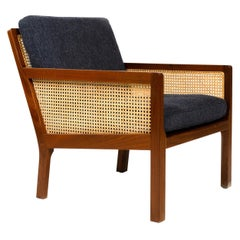 1960s Mahogany & Cane Lounge Chair by Bernt Petersen for Worts Mobelsnedkeri
