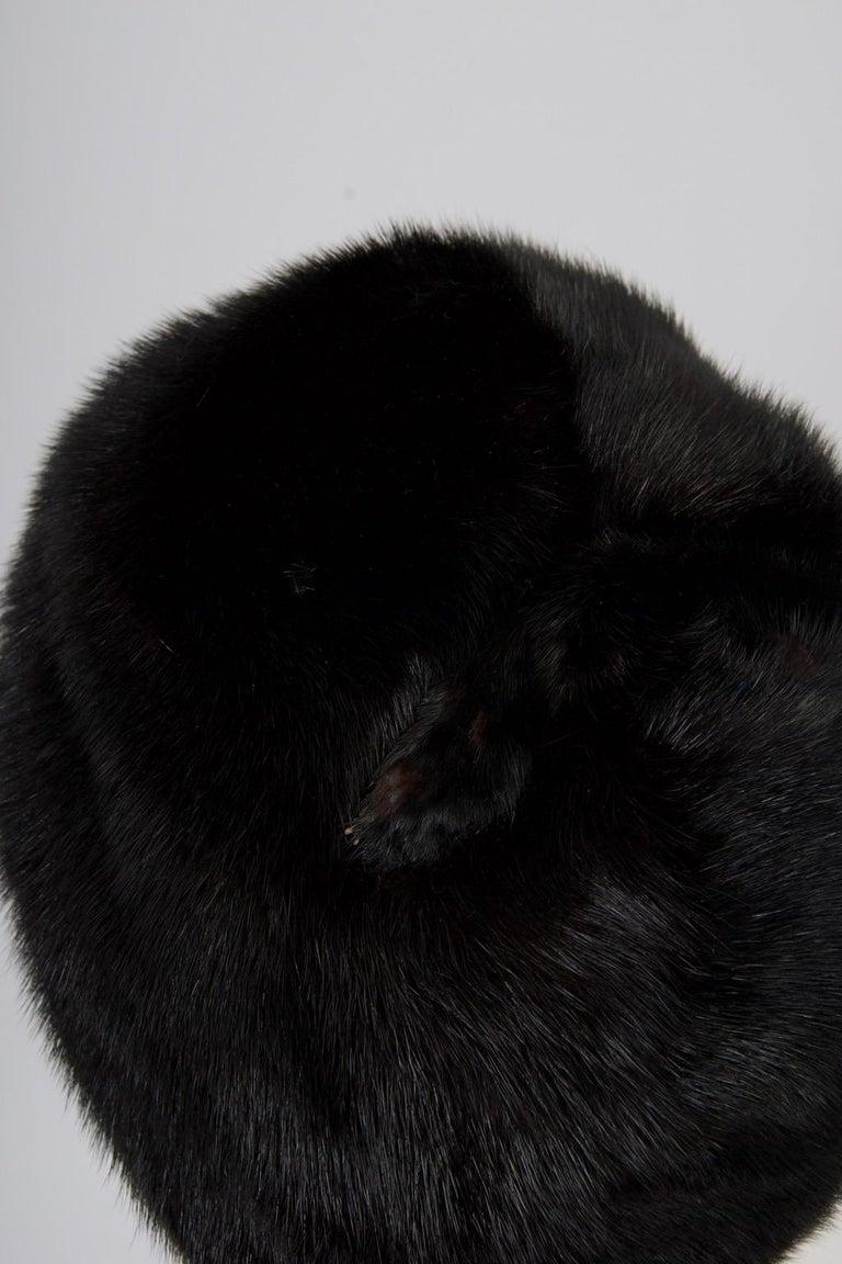 Black 1960s Mahogany Mink Hat For Sale