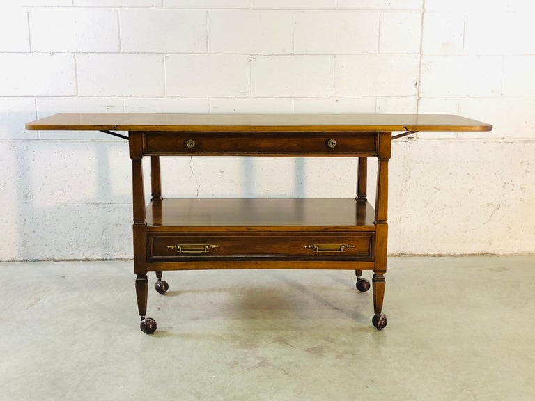 Mid-Century Modern 1960s Mahogany Wood Rolling Serving Cart For Sale