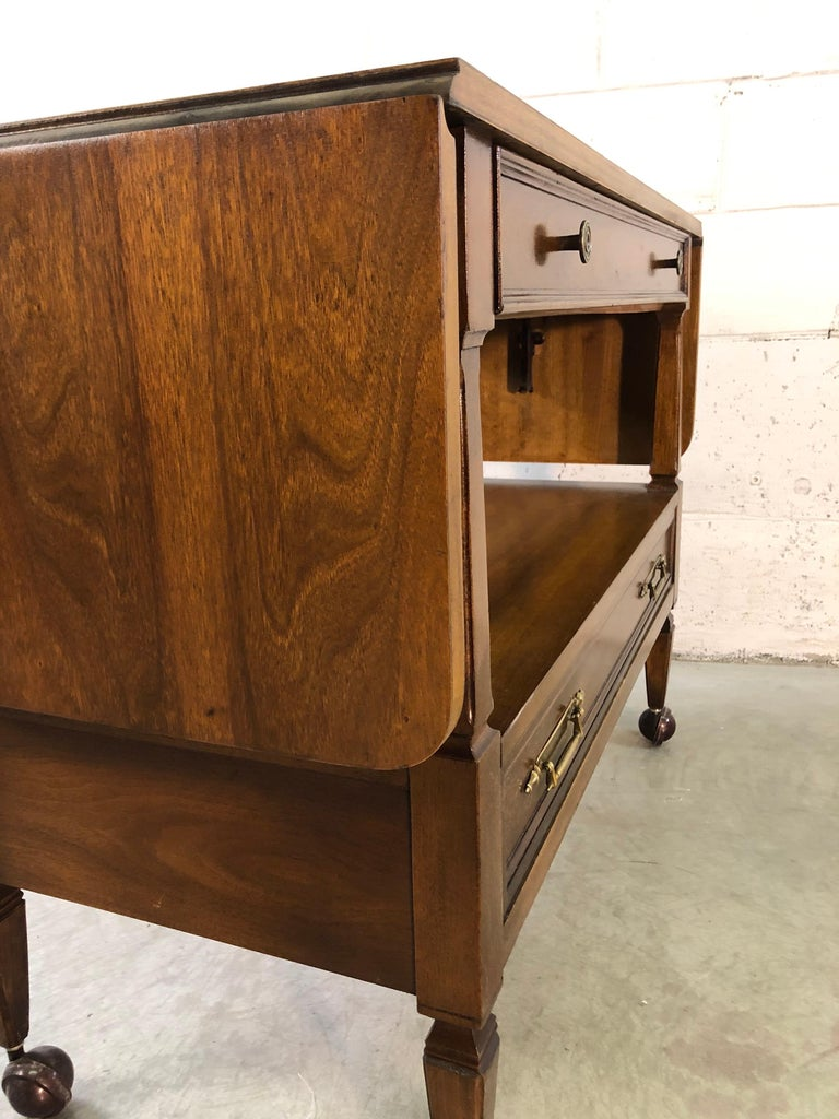 1960s Mahogany Wood Rolling Serving Cart For Sale 2