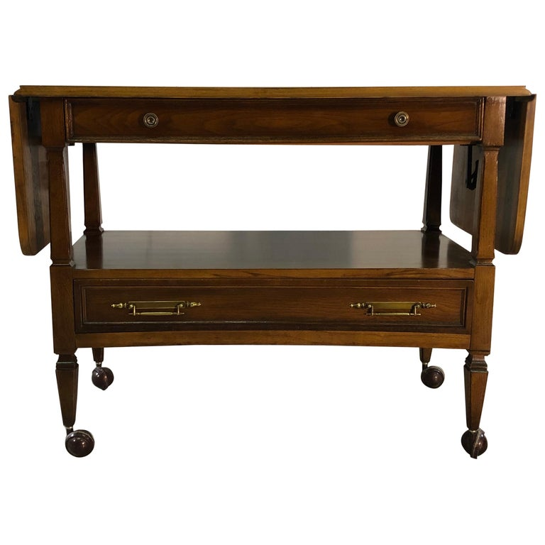 1960s Mahogany Wood Rolling Serving Cart For Sale
