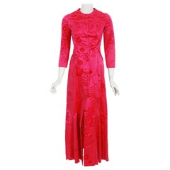 1970 Mainbocher Couture Documented Shocking Pink Flocked Silk Mermaid Dress