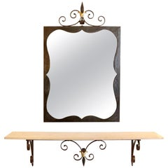 1960s Maison Honoré Wrought Iron Console with Matching Mirror
