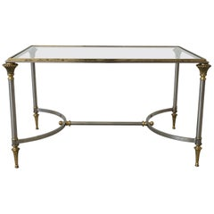 1960s Maison Jansen Brass and Steel Cocktail Table
