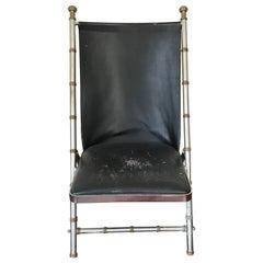 1960s Maison Jansen Style, Leather Campaign Chair