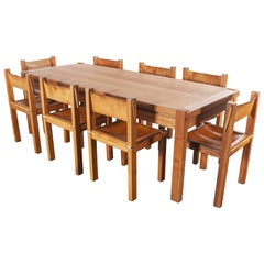 1960s Maison Regain Elm Rectangular Dining Table and Eight Leather Chair Set