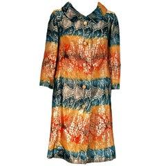 1960's Makaroff Couture Metallic Rainbow Lamé Rhinestone Tailored Jacket Coat