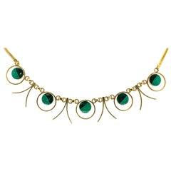 1960s Malachite Gold Necklace