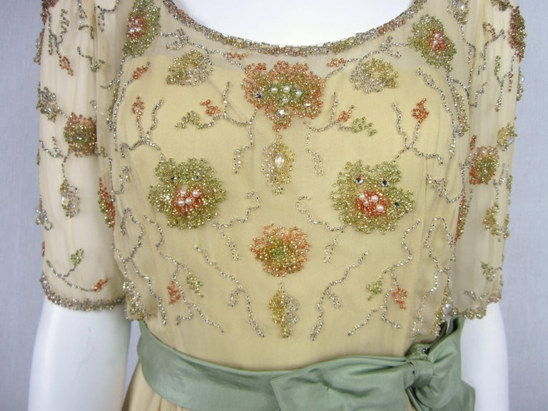 1960s Malcolm Starr Beaded Gown Vintage Dress   In Good Condition For Sale In Wallkill, NY