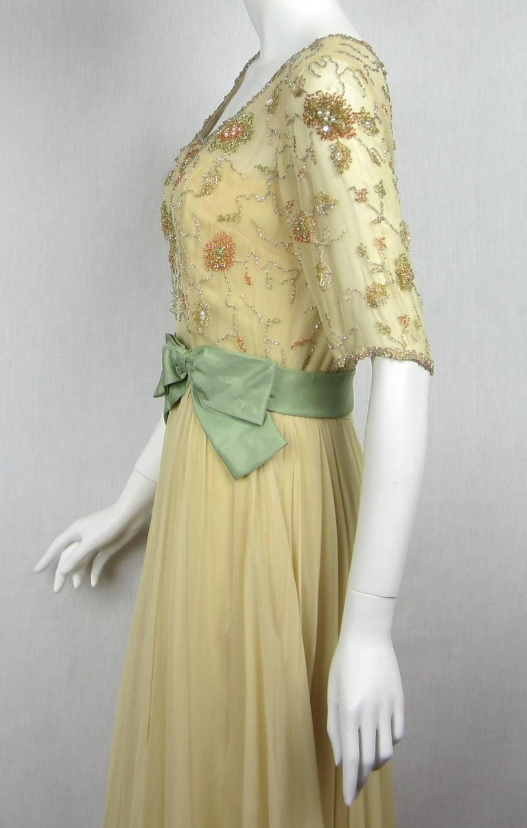 Women's 1960s Malcolm Starr Beaded Gown Vintage Dress   For Sale