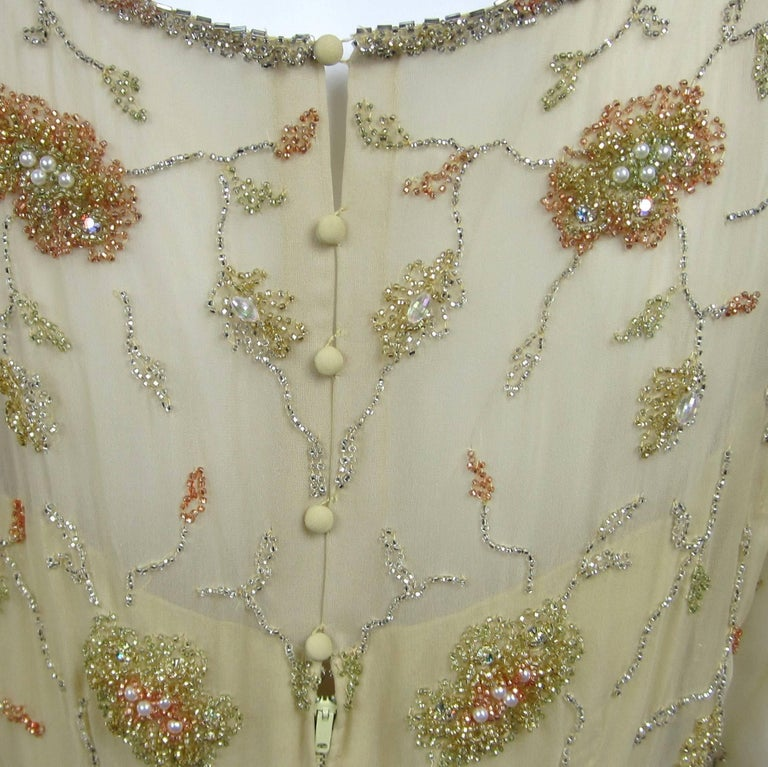 1960s Malcolm Starr Beaded Gown Vintage Dress   For Sale 3