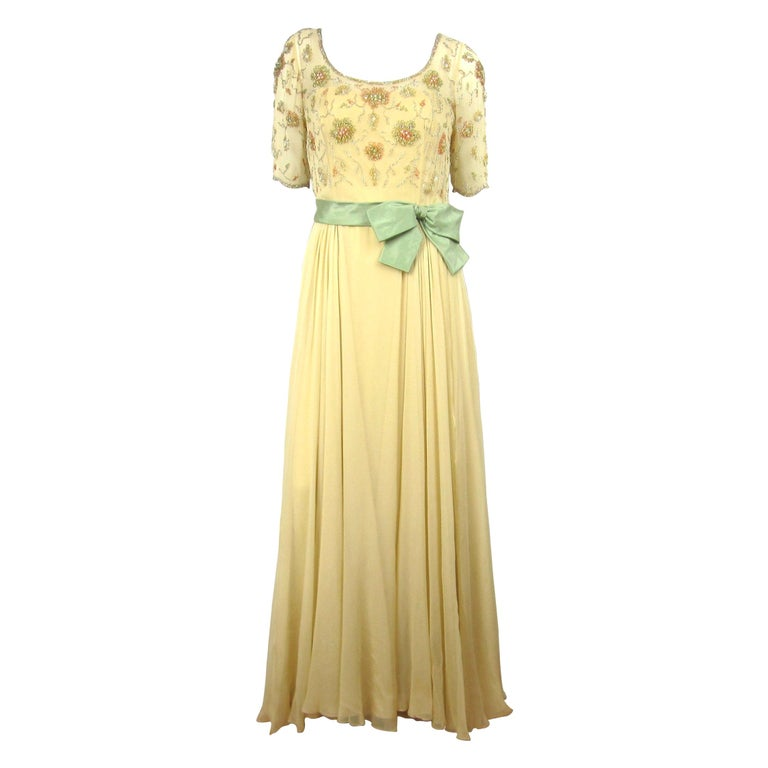 1960s Malcolm Starr Beaded Gown Vintage Dress   For Sale