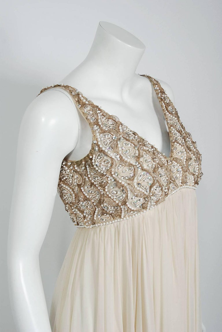 Gray Vintage 1960's Malcolm Starr Beaded Ivory Silk-Chiffon Empire Goddess Gown  For Sale