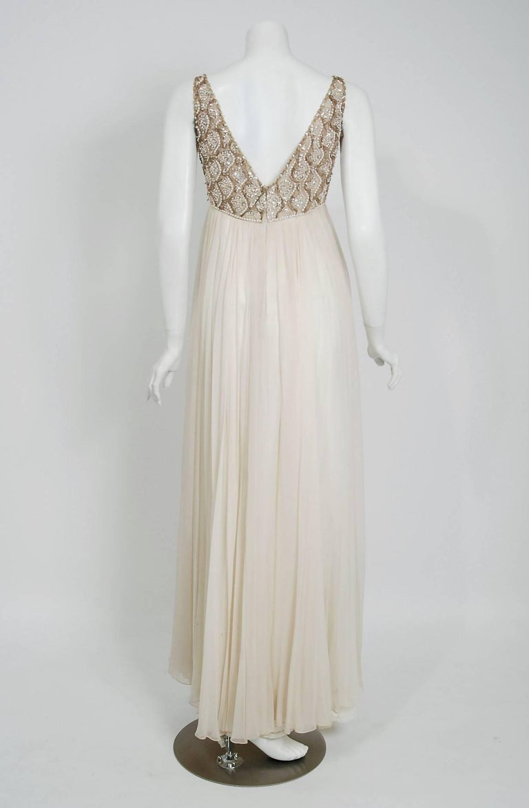 Women's Vintage 1960's Malcolm Starr Beaded Ivory Silk-Chiffon Empire Goddess Gown  For Sale