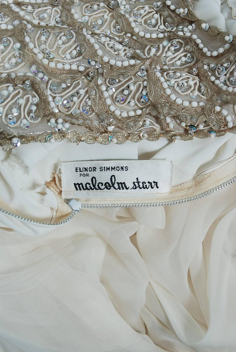 Vintage 1960's Malcolm Starr Beaded Ivory Silk-Chiffon Empire Goddess Gown  For Sale 1