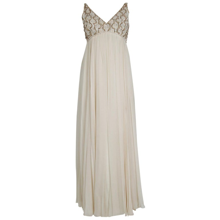 fdc992cf9afc 1960's Malcolm Starr Beaded Ivory Creme Silk Chiffon Empire Plunge Goddess  Gown For Sale