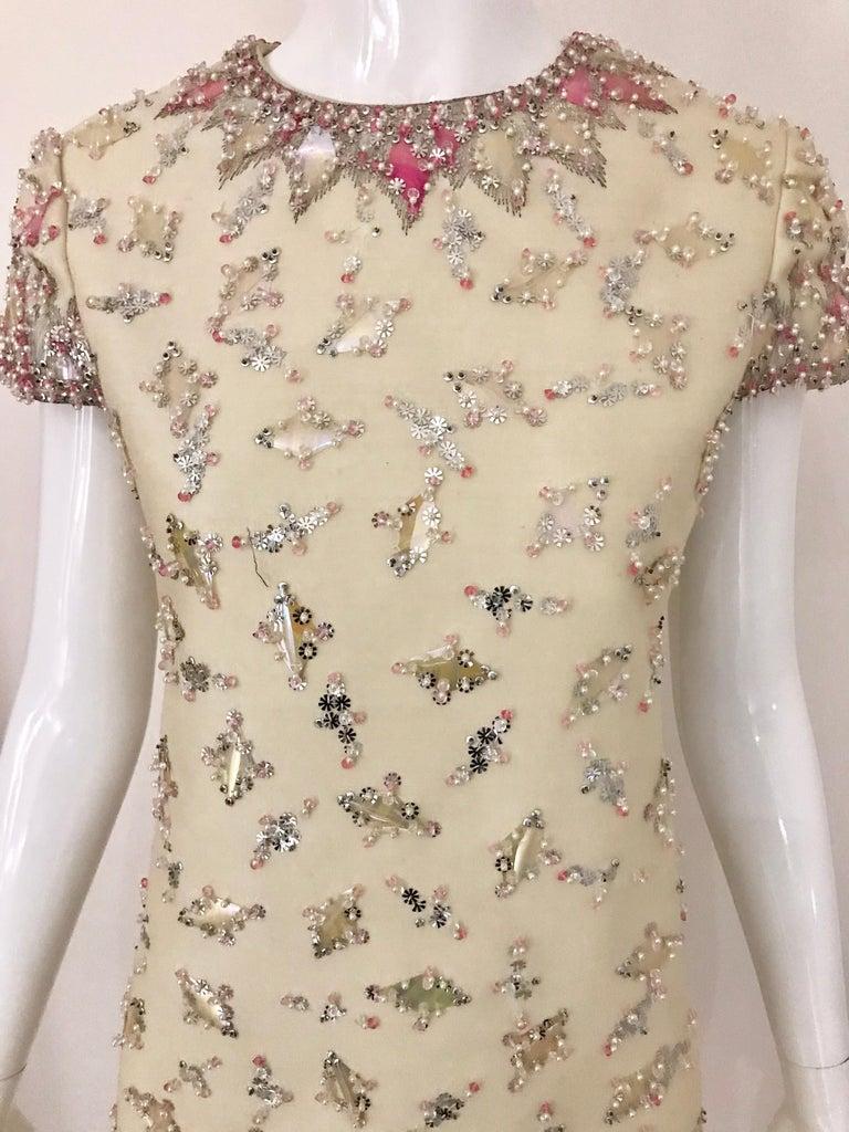 1960s  Malcolm Starr Creme Embellished Shift Dress For Sale 3