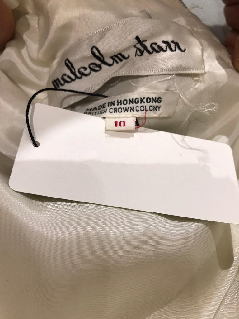 1960s  Malcolm Starr Creme Embellished Shift Dress For Sale 6