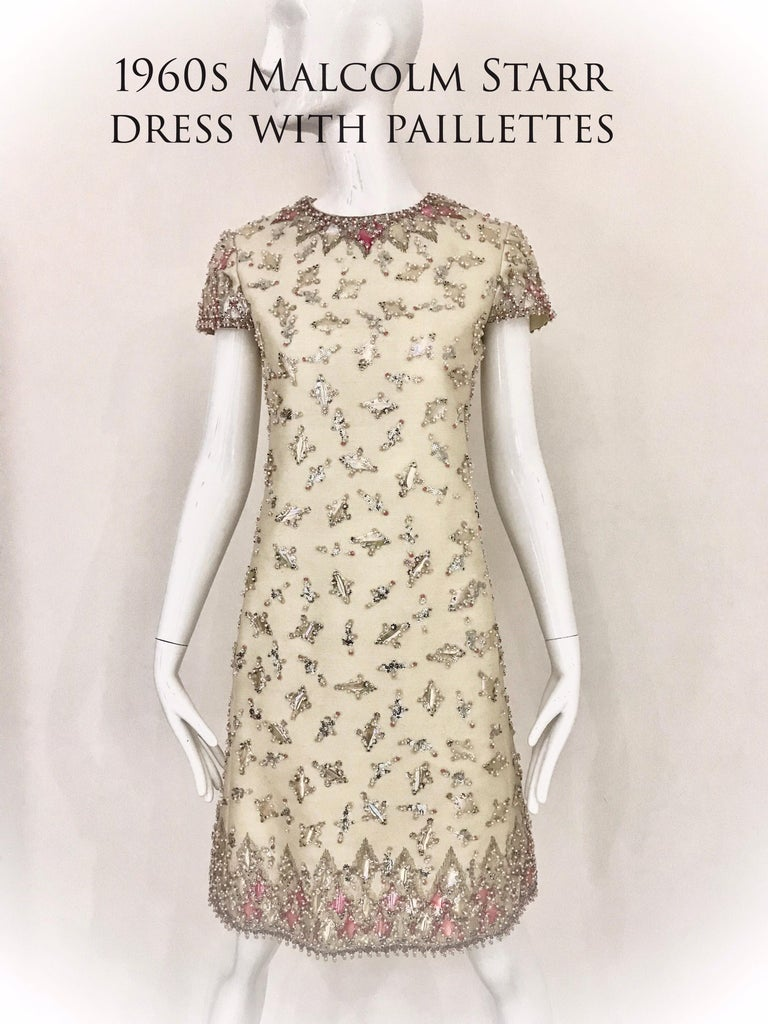 Women's 1960s  Malcolm Starr Creme Embellished Shift Dress For Sale
