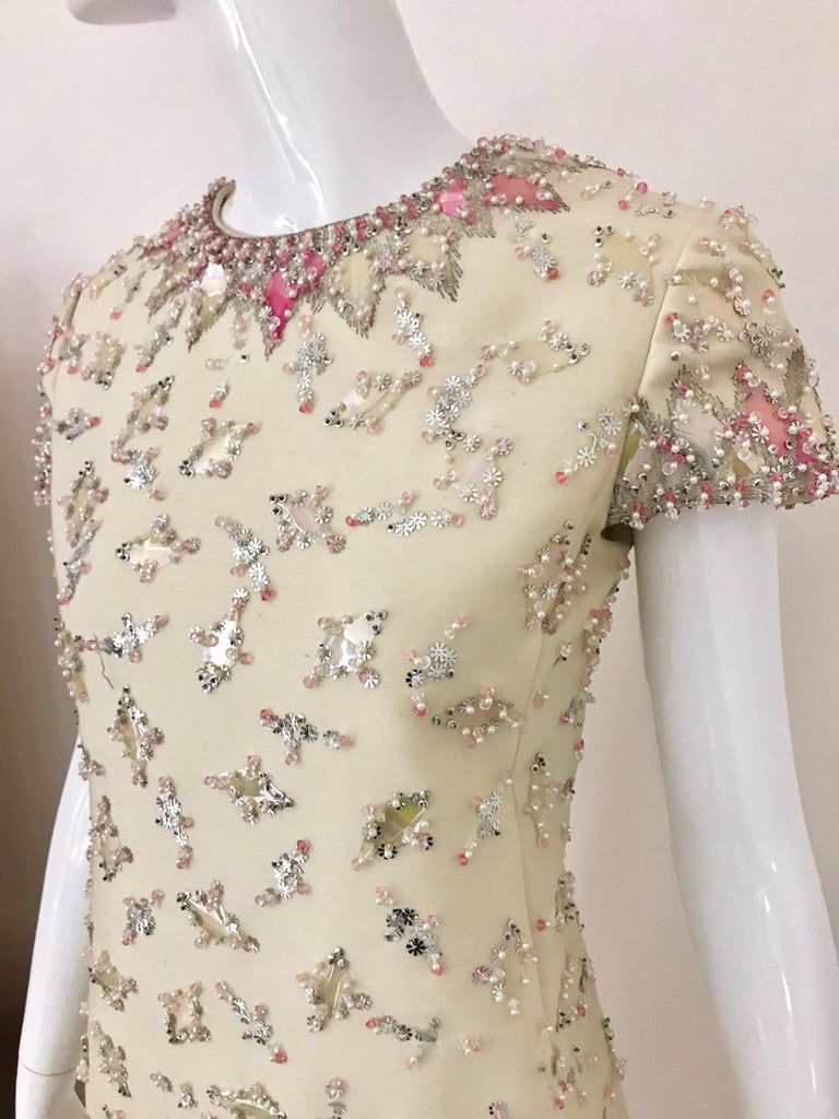 Women's 1960s  Malcolm Starr Creme Embellished Shift Dress For Sale