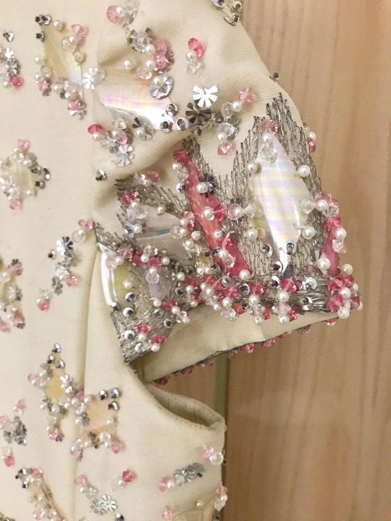 1960s  Malcolm Starr Creme Embellished Shift Dress For Sale 1