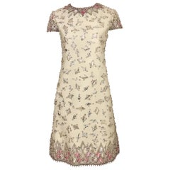 1960s  Malcolm Starr Creme Embellished Shift Dress