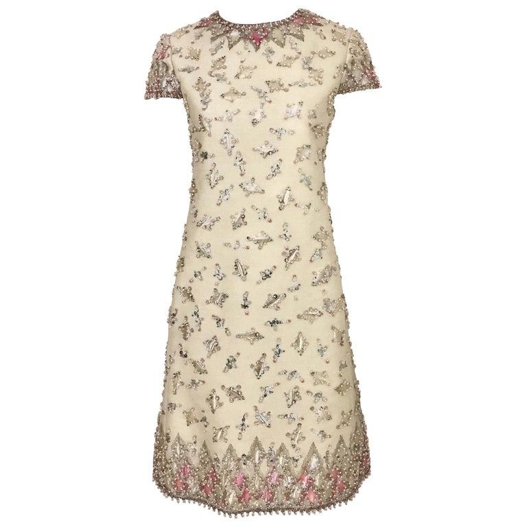 1960s  Malcolm Starr Creme Embellished Shift Dress For Sale
