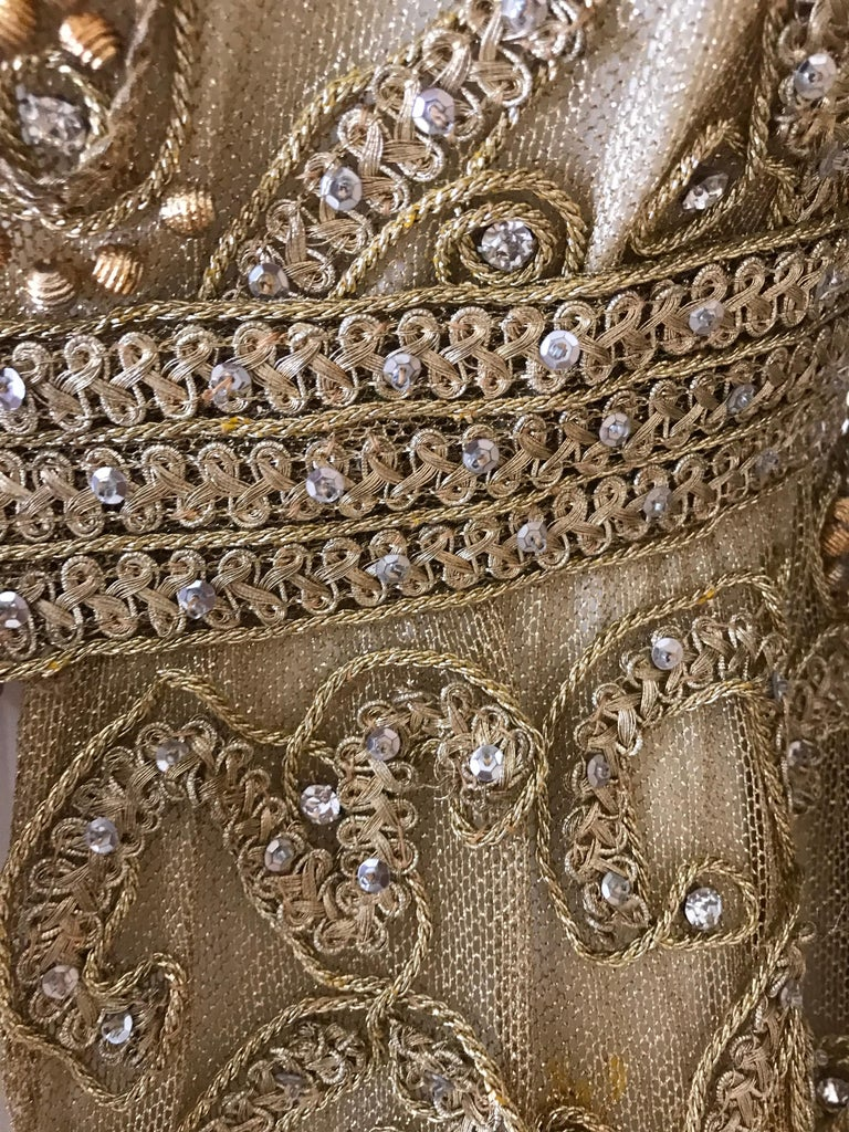 1960s Malcolm Starr Gold Metallic Embroidered Long Sleeve Cocktail Dress For Sale 6