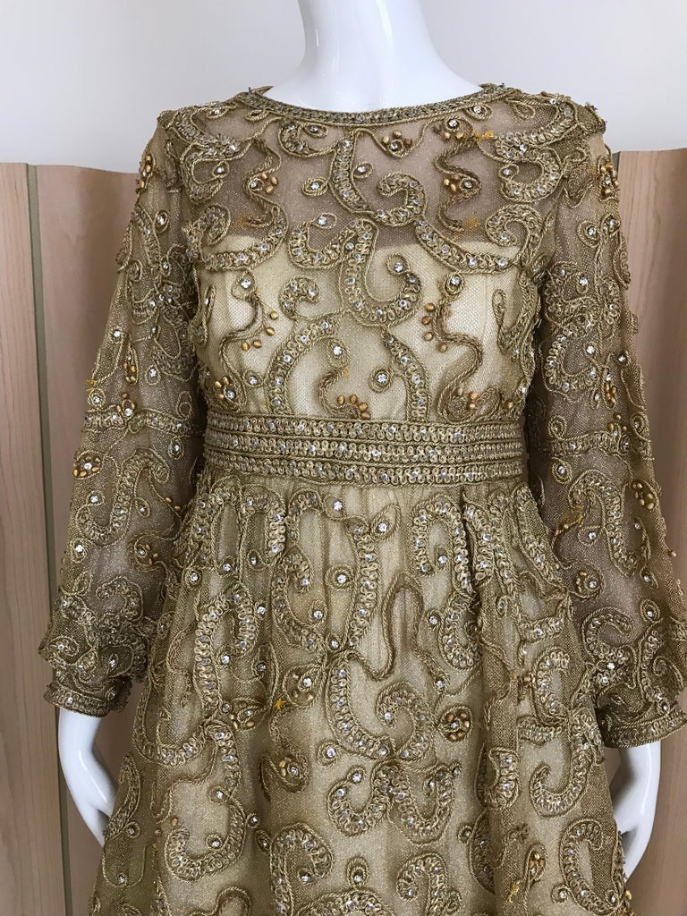 1960s Malcolm Starr Gold Metallic Embroidered Long Sleeve Cocktail Dress For Sale 8