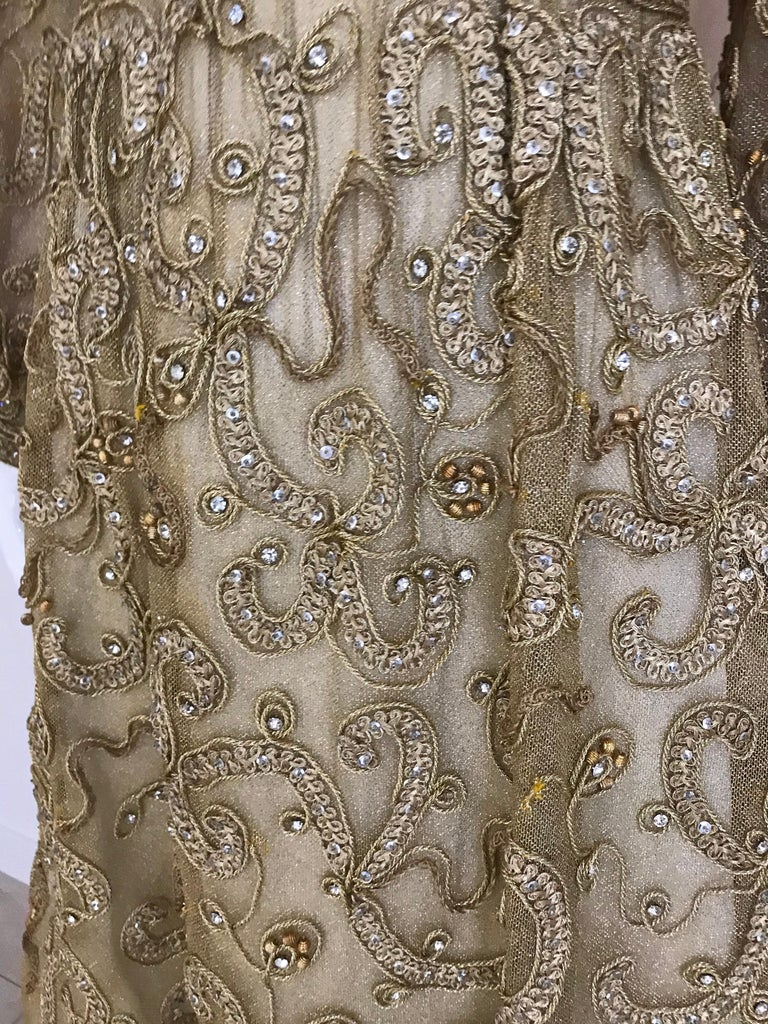 1960s Malcolm Starr Gold Metallic Embroidered Long Sleeve Cocktail Dress In Good Condition For Sale In Beverly Hills, CA