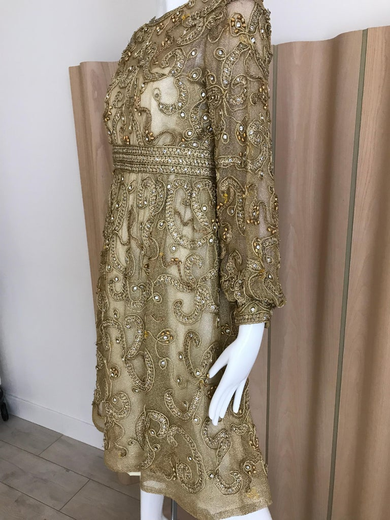 Women's 1960s Malcolm Starr Gold Metallic Embroidered Long Sleeve Cocktail Dress For Sale