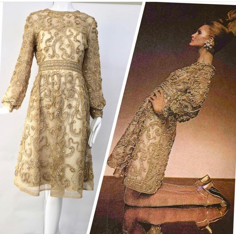 1960s Malcolm Starr Gold Metallic Embroidered Long Sleeve Cocktail Dress For Sale 1