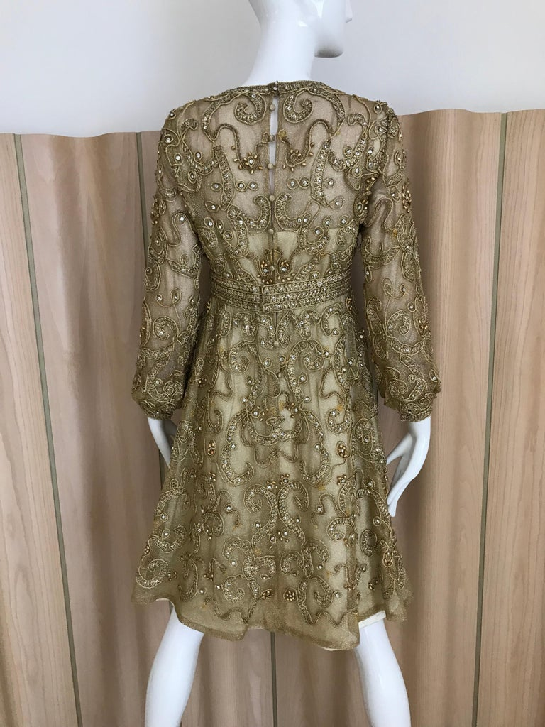 1960s Malcolm Starr Gold Metallic Embroidered Long Sleeve Cocktail Dress For Sale 4