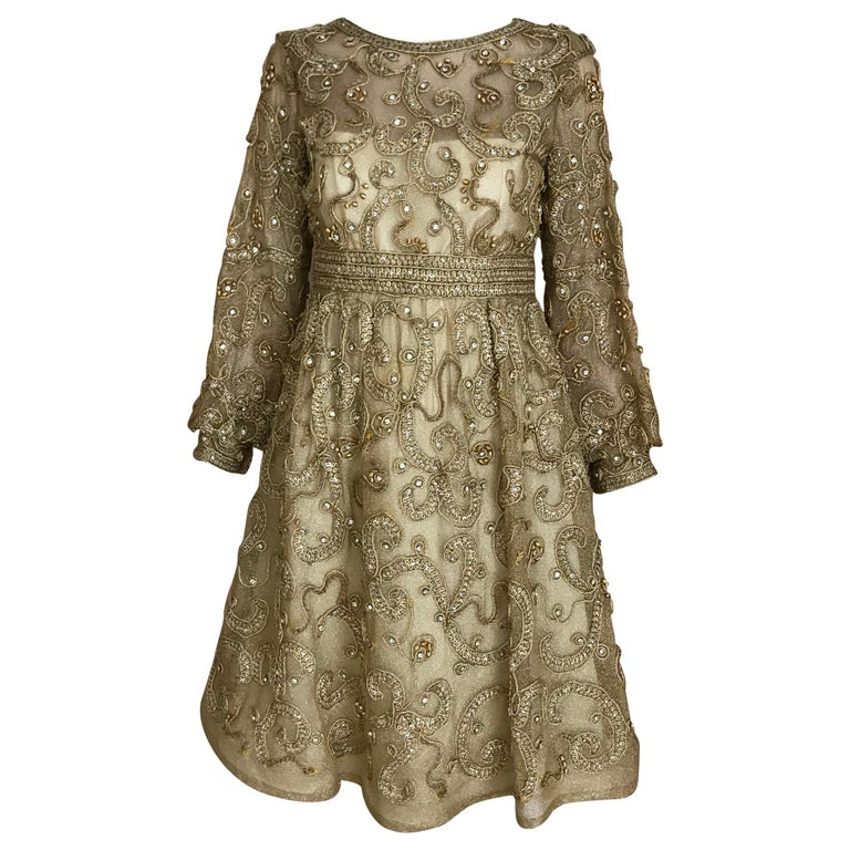 1960s Malcolm Starr Gold Metallic Embroidered Long Sleeve Cocktail Dress For Sale