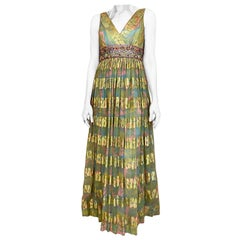 1960s Malcolm Starr Green Pink Metallic Floral Print Dress