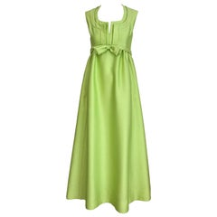 1960s Malcolm Starr Green Silk  Dress with Bow