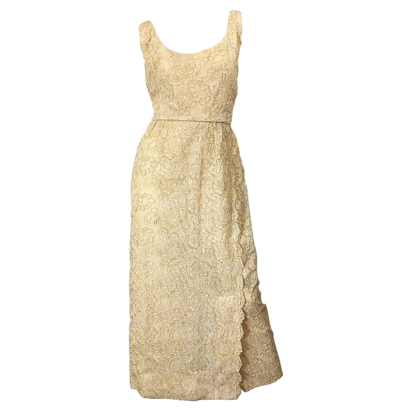 1960s Malcolm Starr Pale Yellow Silk Lace Embroidered Vintage 60s Gown Dress