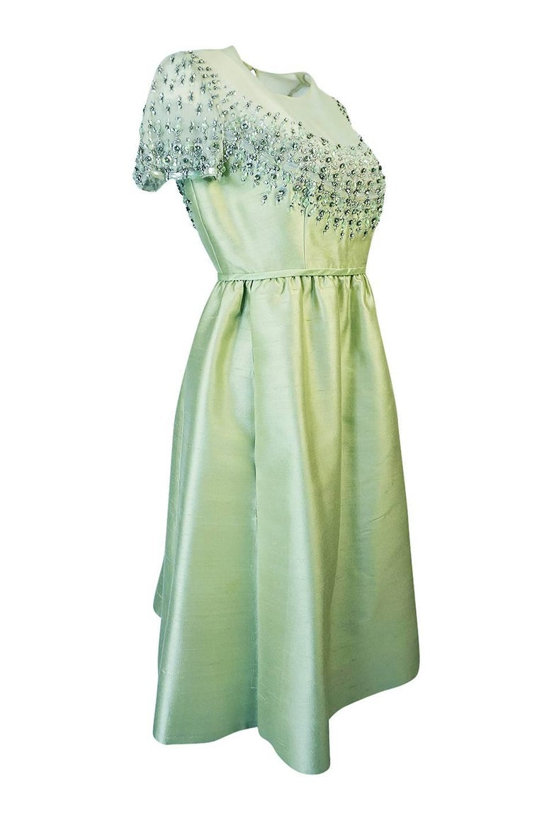 Gray 1960s Malcolm Starr Silk, Sequin, Beads & Crystal Embellished Dress For Sale