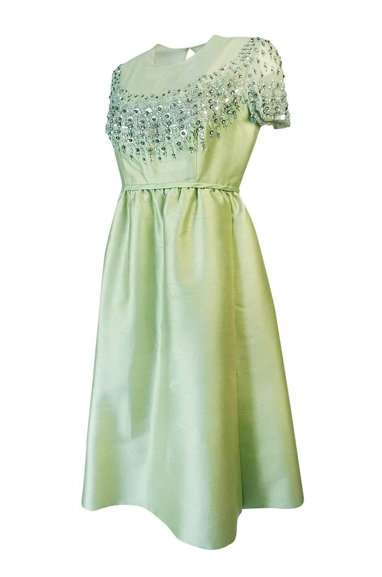 1960s Malcolm Starr Silk, Sequin, Beads & Crystal Embellished Dress In Excellent Condition For Sale In Toronto, ON