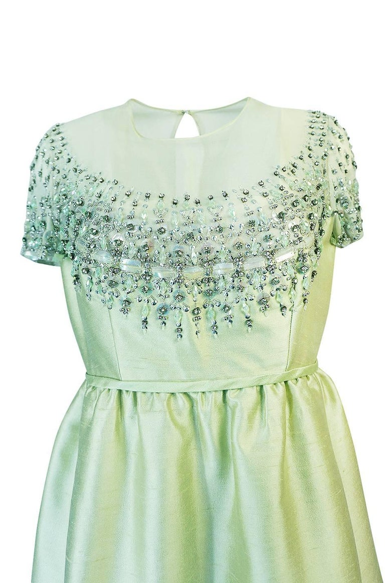 Women's 1960s Malcolm Starr Silk, Sequin, Beads & Crystal Embellished Dress For Sale