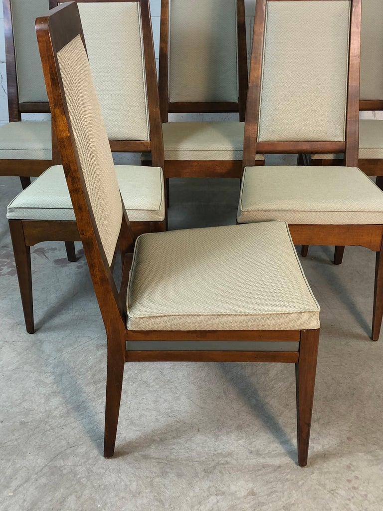 Stainless Steel 1960s Maple High Back Dining Chairs, Set of 6 For Sale
