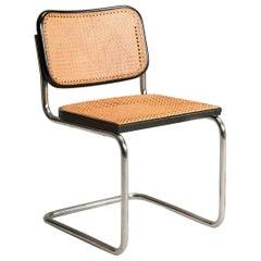 1960s Marcel Breuer for Gavina Woven Straw Steel Tubular Black Chairs, Set of 16