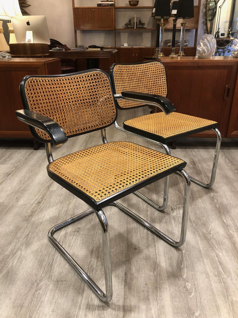 1960s Marcel Breuer for Gavina Woven Straw Steel Tubular Black Chairs, Set of 8 For Sale 4