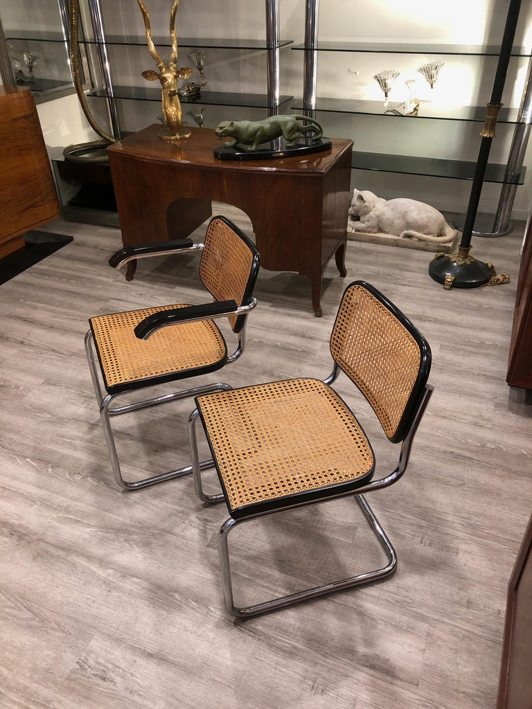 1960s Marcel Breuer for Gavina Woven Straw Steel Tubular Black Chairs, Set of 8 For Sale 5