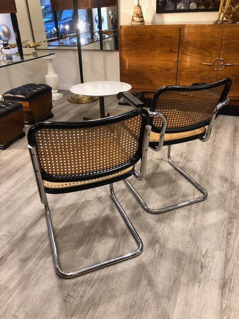 1960s Marcel Breuer for Gavina Woven Straw Steel Tubular Black Chairs, Set of 8 For Sale 8