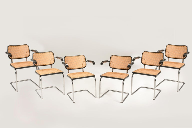 1960s Marcel Breuer for Gavina Woven Straw Steel Tubular Black Chairs, Set of 8 For Sale 9