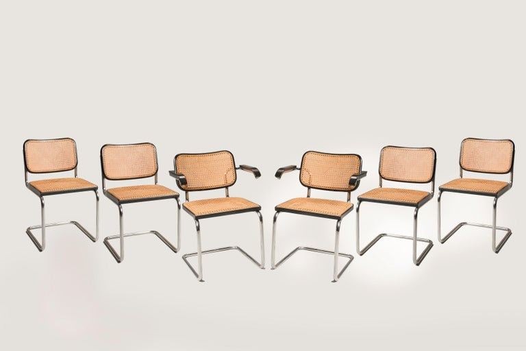 1960s Marcel Breuer for Gavina Woven Straw Steel Tubular Black Chairs, Set of 8 For Sale 10