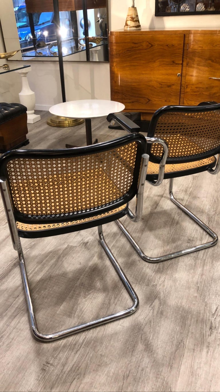1960s Marcel Breuer for Gavina Woven Straw Steel Tubular Black Chairs, Set of 8 For Sale 2